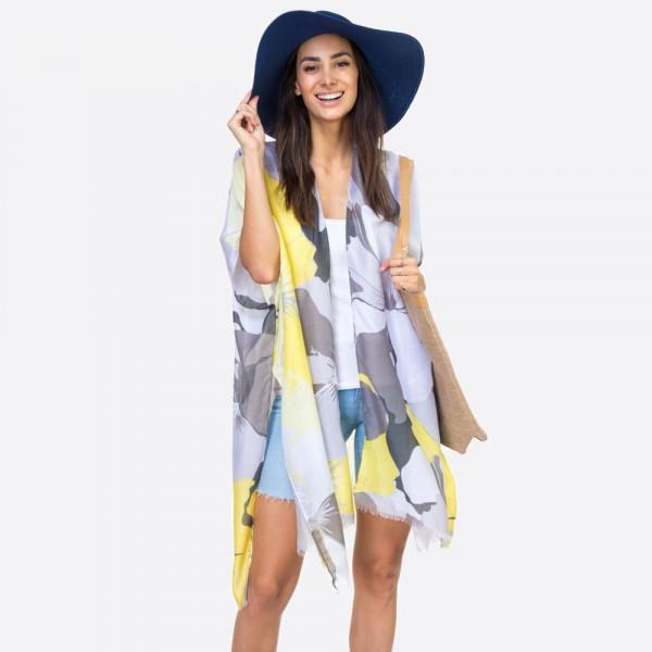 "Big floral kimono.  35""X35"". 100% POLYESTER"
