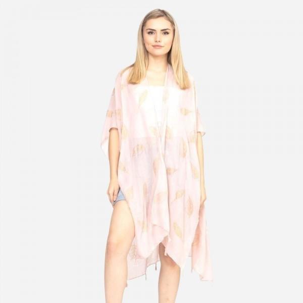 """Glitter leaves kimono.  35""""X35"""". 100% Viscose"""