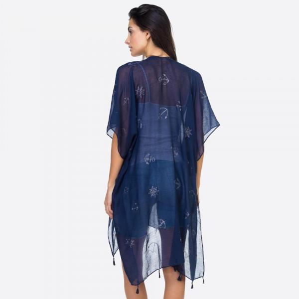 "Glitter anchor kimono. 35""X35"". 100% VISCOSE"