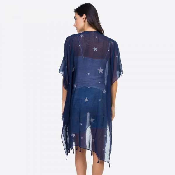"Women's lightweight sheer glitter star kimono.  - One size fits most 0-14 - Approximately 37"" L - 100% Viscose"