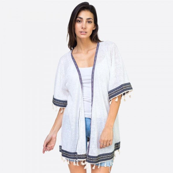 """Navy woven tape and tassel trimmed kimono.  24 3/4""""X30 1/4"""" 100% POLYESTER"""