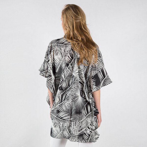 "Jungle leaves ruffle kimono. 34 1/2""X33"" 100% POLYESTER"
