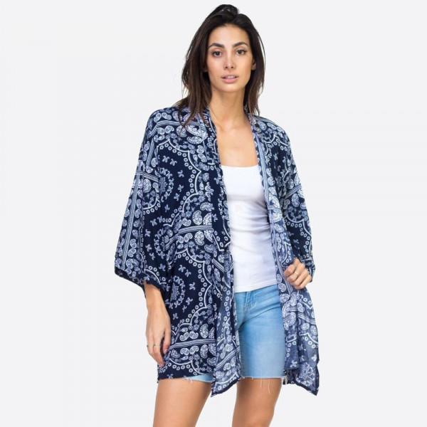 """Paisley geometric kimono.  25 1/2""""X36"""" 100% VISCOSE"""