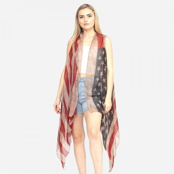"Women's lightweight vintage American Flag sheer kimono vest.  - One size fits most 0-14 - Approximately 37"" L - 100% Polyester"