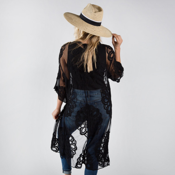 Lightweight black lace kimono with waist tie. One size fits most 0-14. 50% cotton 50% polyester.