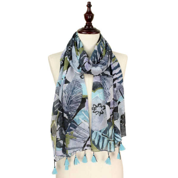 "Tropical print scarf with tassel. Approximate 74"" L X 40"" W. 100% Cotton."