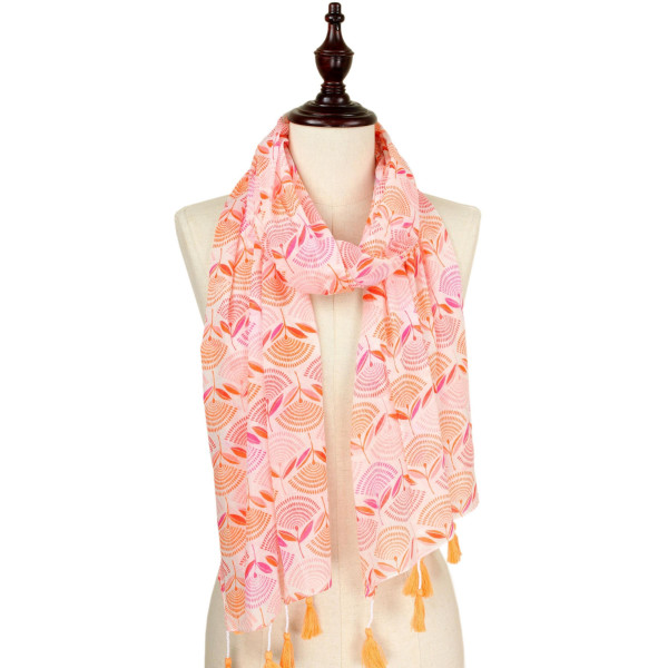 "Flower print scarf with tassel. Approximate 74"" L X 40"" W. 100% Cotton."