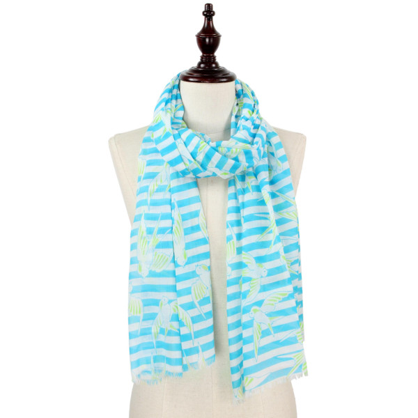 Bird and stripe print scarf. 100% polyester.