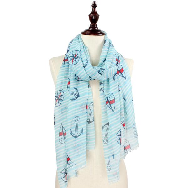 Anchor printed scarf. 100% polyester.