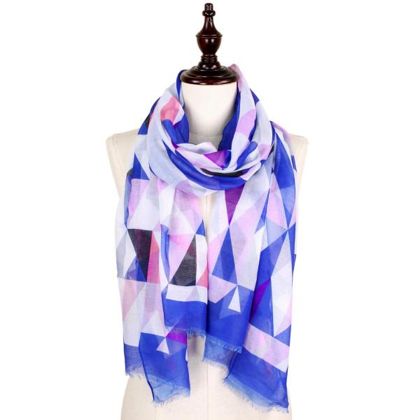 Geometric print scarf. 100% polyester.