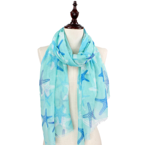 Starfish print scarf. 100% Polyester.