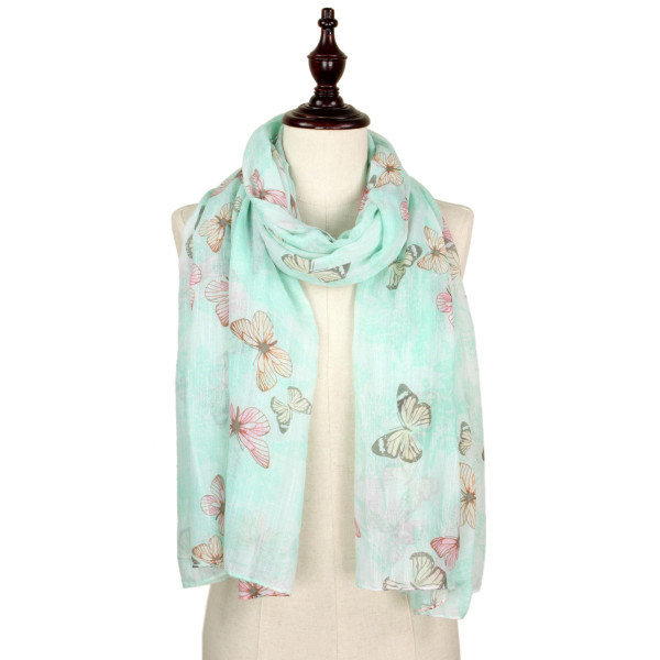 Butterfly print scarf. 100% polyester.