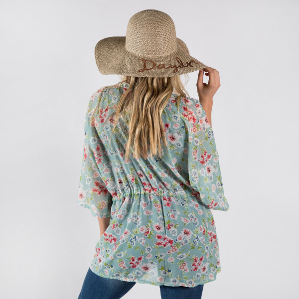 Light weight flower chiffon kimono with drawstring. 100% polyester.