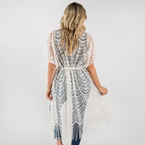 Scallop lace vest with draw string. 100% polyester.