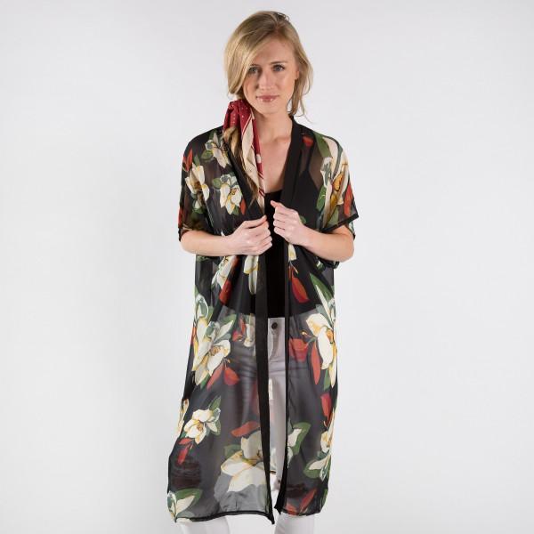 Light weight flower print chiffon vest. 100% polyester.