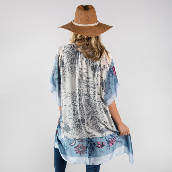 Flower print satin kimono. 100% polyester.