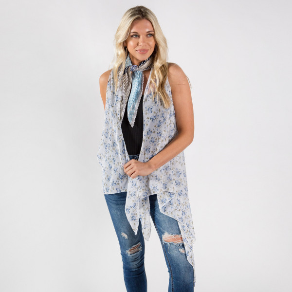 Flower print chiffon vest or cover up. 100% polyester.