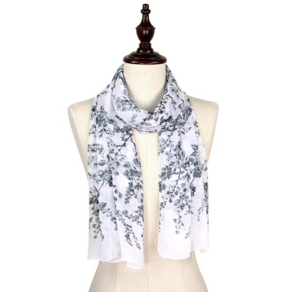 Flower chiffon scarf. 100%