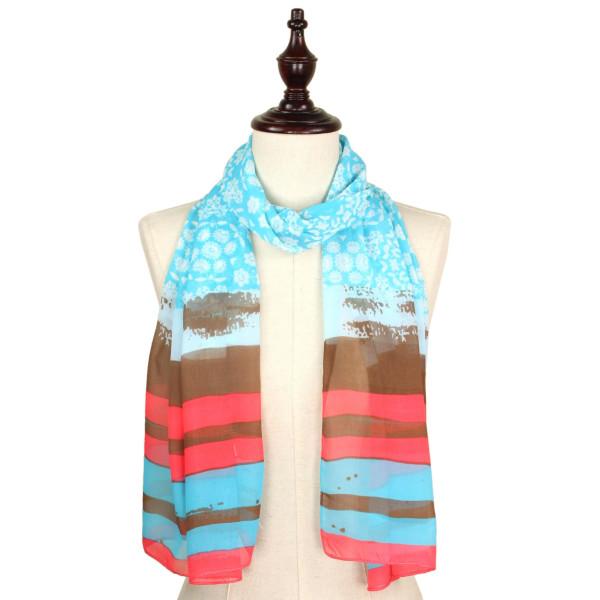 Print chiffon scarf. 100% polyester.