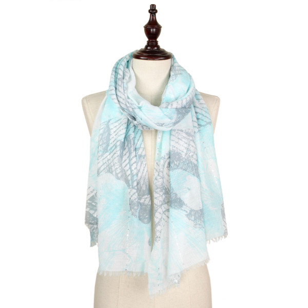 Flower print sequins decor scarf.  100% polyester.