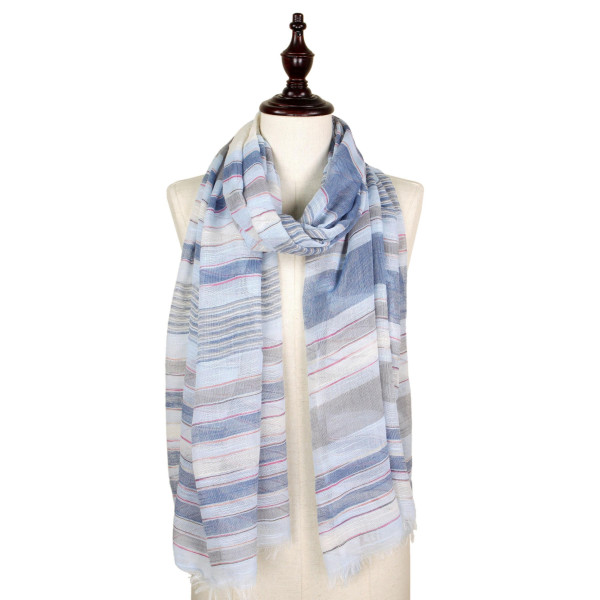 Stripe woven scarf. 100% Polyester.