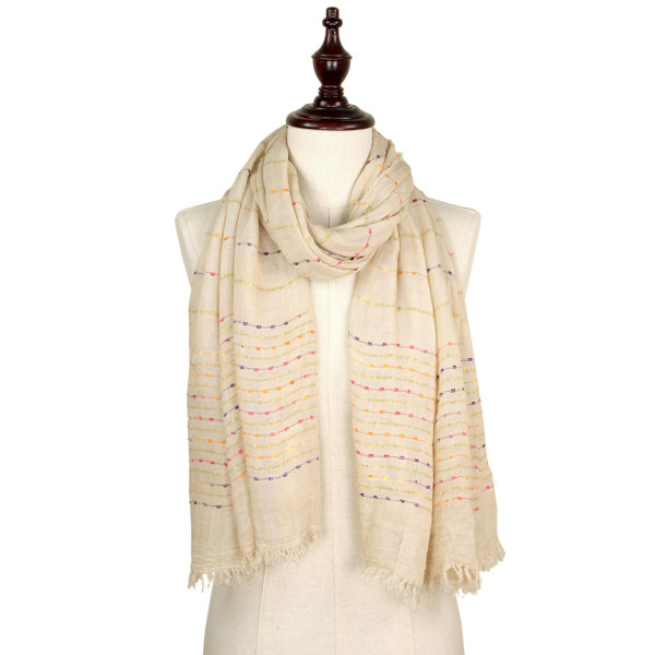 Multi color thread woven scarf. 100% polyester.