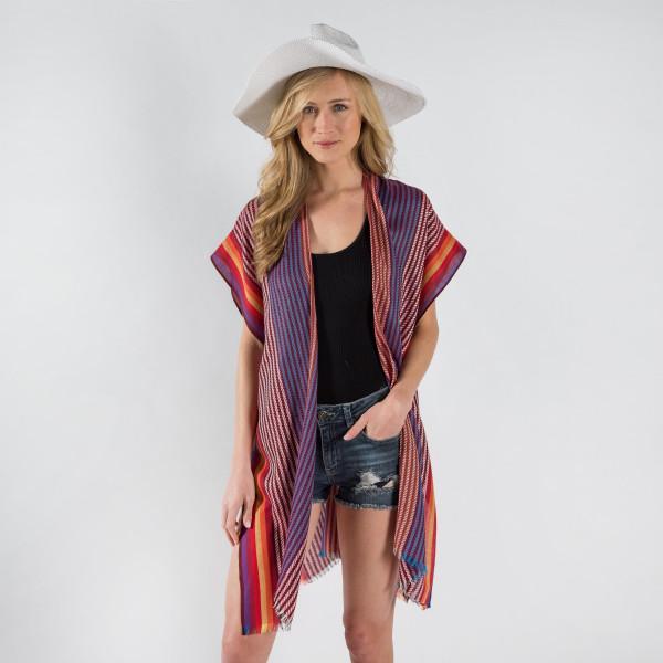 Colorful striped print kimono. 100% polyester.