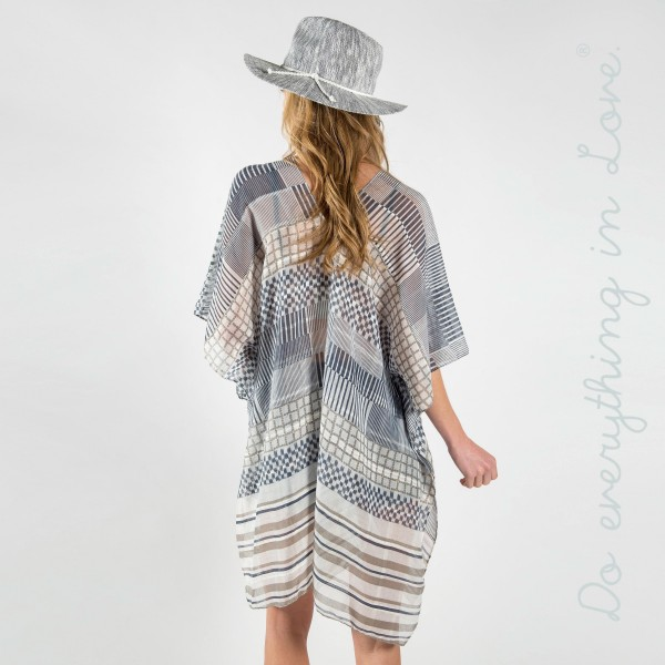 "Striped Kimono with metallic detail. One size fits most 0-14. Measuring approximately 35"" x 36"" in size. 100% Viscose."
