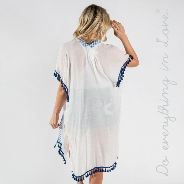 "Do everything in Love brand lightweight checkered and tassel trim long kimono.  - One size fits most 0-14 - Approximately 41"" L - 100% Viscose"