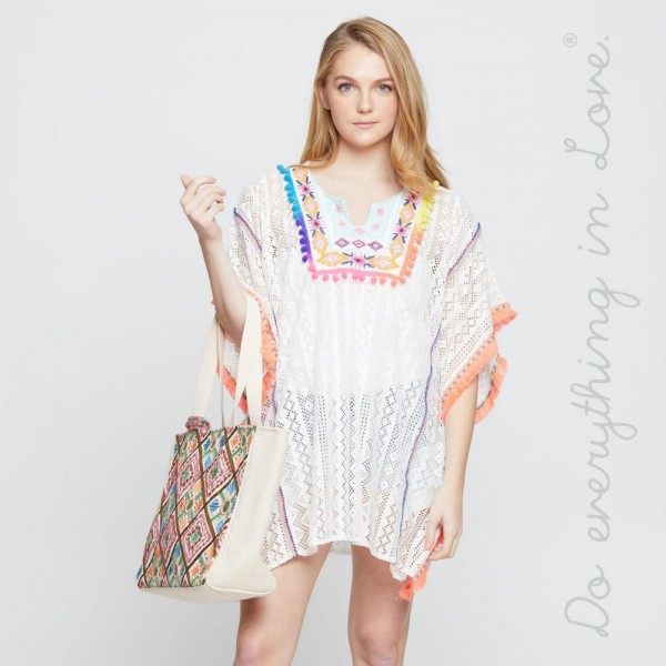 Colorful cover up or top. 100% polyester. One size.