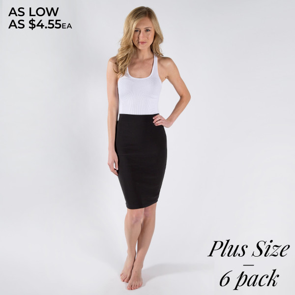 Gorgeous fitted skirt with back slit. 95% Polyester 5% spandex.  Size breakdown. 2-1xl, 2-2xl, 2-3xl.
