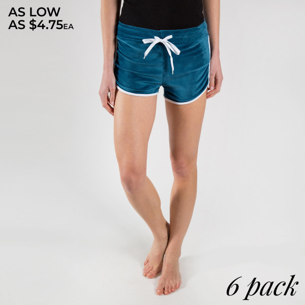 Soft shorts with tie waist and straps on each side. 95% polyester 5% spandex.  Comes in 6 pack 1S 2M 2L 1XL