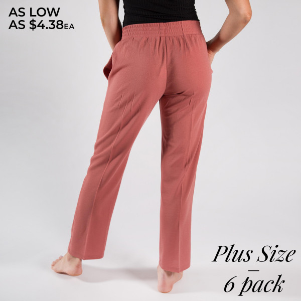 Dress to impress in these  slim pants. With a skinny leg design and easy pull-on style, they're the picture of work-to-weekend chic.   • Elastic at Waist  • Functional Front & Back Pockets  • Skinny Fit  • Pull-Up Style  • Mid Rise  • Care: Machine Wash Cold, Do not Bleach, Hang dry      • Imported   Composition: 98% Polyester 2%Spandex     Sizes: 2:1xl-2:2xl-2:3xl