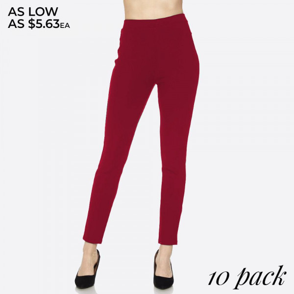 Dress to impress in these pants. With a skinny leg design and easy pull-on style, they're the picture of work-to-weekend chic.    Elastic at Waist   Skinny Fit   Pull-Up Style   Mid Rise  Comes in a 10 Pack: 5 S/M 5 L/XL.  95% polyester- 5% spandex.