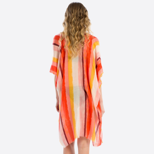 Light weight multi color sheer striped cover up. 100% polyester. 35.4X71.  Fits most 0-14.