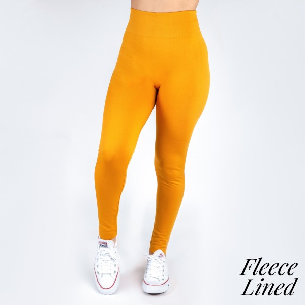 """New Mix brand women's solid color full length fleece lined seamless leggings.  - One size fits most 0-12 - Size suggestions are approximate - Fit depends on height and body shape - Approximately 2"""" elastic waistband - Inseam approximately 26.5"""" in length - 92% Nylon, 8% Spandex"""