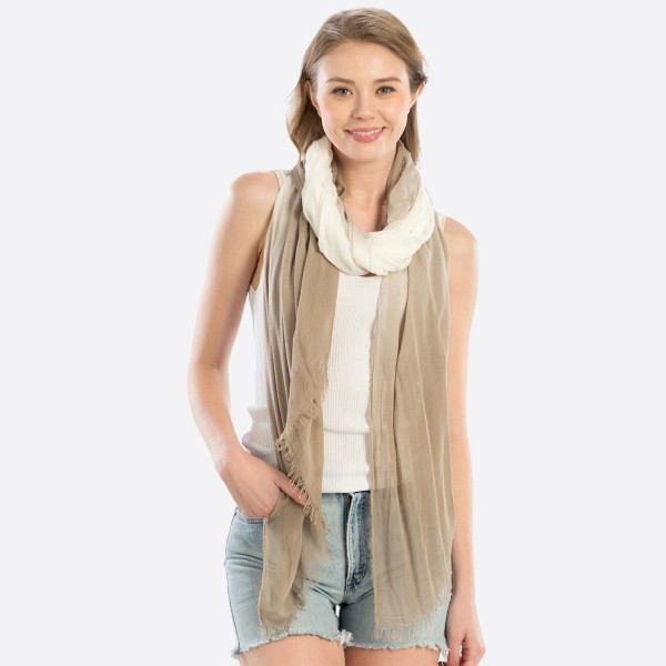 "Lightweight beige hombre scarf. Measures approximately 40"" x 74"" in length. 100% Modal."