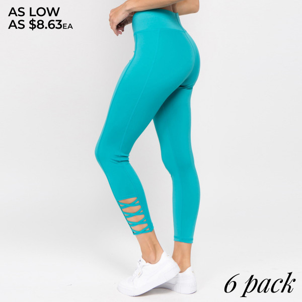 The perfect look for your next pilates class, these easy to pull-on active leggings feature eye-catching criss cross ankle detail and an all-over supportive fit. Wear these leggings for your daily morning run or low-key days relaxing at home!   • Reinforced, elastic waistband  • High rise style  • High quality comfort and stretch fabric  • Smoothing seams offer no chaffing along legs/triangle crotch gusset  • Sweat wick fibers draw sweat off your skin for a cool wear  • Lightweight  • Imported   Composition:   Pack Breakdown: 6pcs/pack. 2S: 2M: 2L