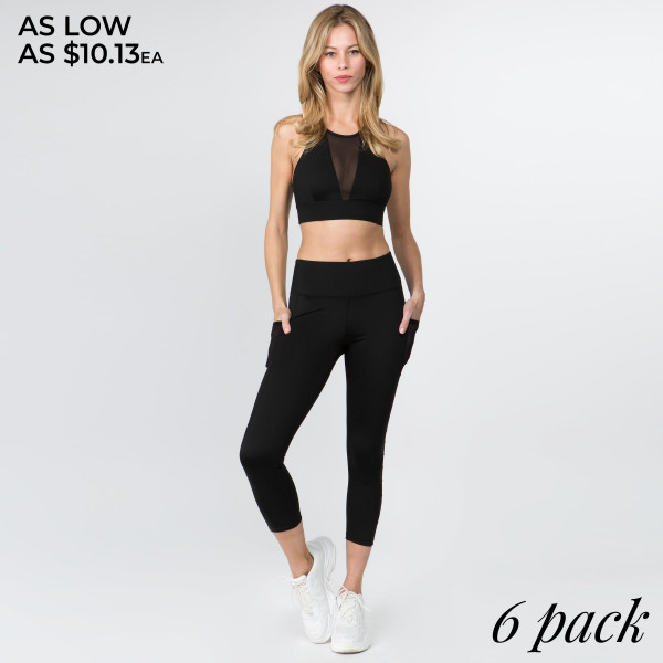 Your basic workout leggings just got an upgrade that has so mesh perfection! High rise style leggings feature stretchy, mesh side stripes and two hip pockets perfect for toting around your gym essentials.   • Elasticized high rise waistband with tummy control  • Two functional side mesh pockets for your phone, keys, cash, or cards  • Stretchy side mesh stripes adds sporty style and extra breathability  • Moisture wicking fabric  • Smooth and stretchy  • Full-length design  • Imported   Composition: 83% Polyester, 17% Spandex   Pack Breakdown: 6pcs/pack. 2S: 2M: 2L
