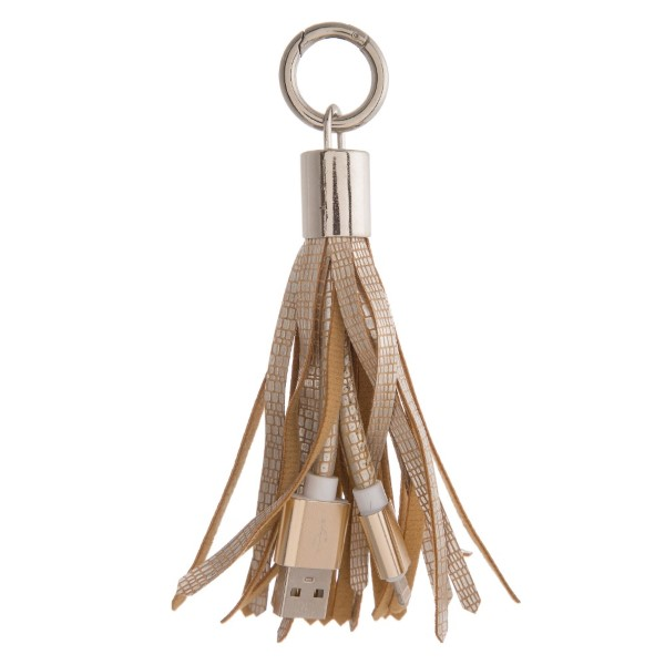"Portable cell phone charger tassel keychain with USB and Lightning cable connections. Approximately 5"" in length"