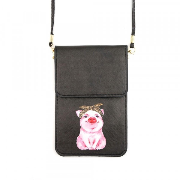 "Faux leather leopard print pig cellphone crossbody/wallet with clear window pocket.  - Approximately 4.5"" W x 6.5"" T - 100% PU"