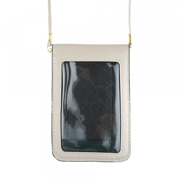 """Solid color faux leather cellphone crossbody/wallet with clear window pocket.  - Approximately 4.5"""" W x 6.5"""" T - 100% PU"""