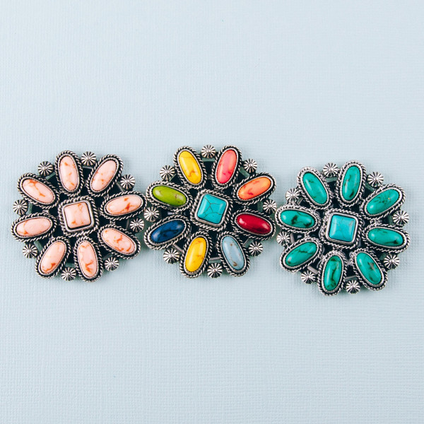 """Accessorize your phone grip with this metal decorative peel and stick charm featuring natural stone inspired details. Approximately 2"""" in diameter. Fashion charms can also be used for the following:  - Laptops - Refrigerator Magnets - On DIY Home Projects - Car Dashboard - And anywhere you can Imagine"""