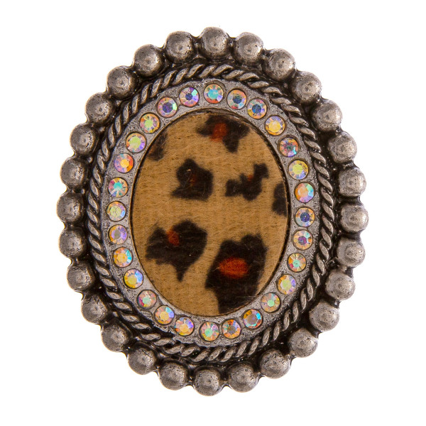 """Accessorize your phone grip with this metal decorative peel and stick charm featuring a fur faux leather leopard print detail and rhinestone accents. Approximately 2"""" in length. Fashion charms can also be used for the following:  - Laptops - Refrigerator Magnets - On DIY Home Projects - Car Dashboard - And anywhere you can imagine"""