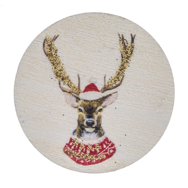 """Accessorize your phone grip with this wooden Christmas reindeer decorative peel and stick charm. Approximately 1.5"""" in diameter. Fashion charms can also be used for the following:  - Laptops - Refrigerator Magnets - On DIY Home Projects - Car Dashboard - And anywhere you can Imagine"""