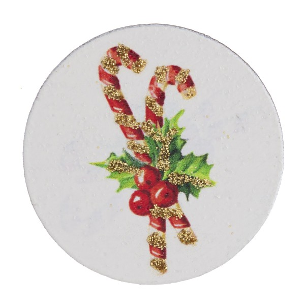 """Accessorize your phone grip with this wooden Christmas candy cane decorative peel and stick charm. Approximately 1.5"""" in diameter. Fashion charms can also be used for the following:  - Laptops - Refrigerator Magnets - On DIY Home Projects - Car Dashboard - And anywhere you can Imagine"""