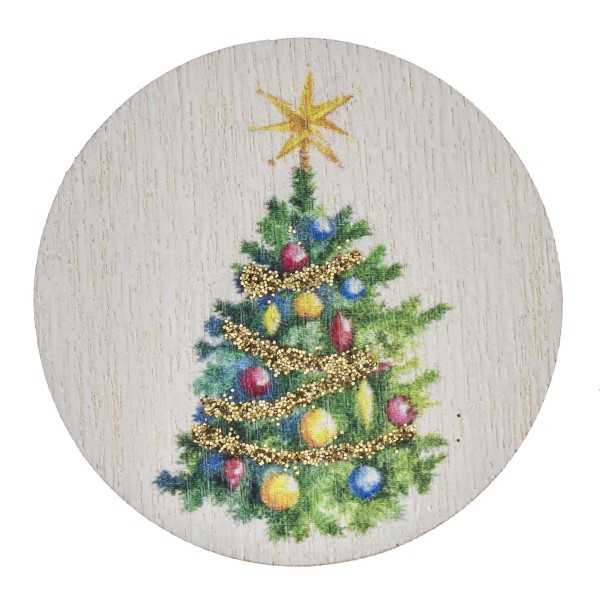"""Accessorize your phone grip with this wooden Christmas tree decorative peel and stick charm. Approximately 1.5"""" in diameter. Fashion charms can also be used for the following:  - Laptops - Refrigerator Magnets - On DIY Home Projects - Car Dashboard - And anywhere you can Imagine"""
