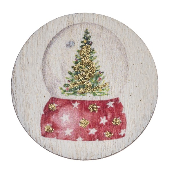"""Accessorize your phone grip with this wooden Christmas snowglobe decorative peel and stick charm. Approximately 1.5"""" in diameter. Fashion charms can also be used for the following:  - Laptops - Refrigerator Magnets - On DIY Home Projects - Car Dashboard - And anywhere you can Imagine"""