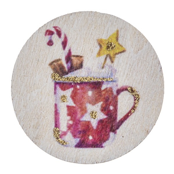 """Accessorize your phone grip with this wooden Christmas hot chocalote decorative peel and stick charm. Approximately 1.5"""" in diameter. Fashion charms can also be used for the following:  - Laptops - Refrigerator Magnets - On DIY Home Projects - Car Dashboard - And anywhere you can Imagine"""