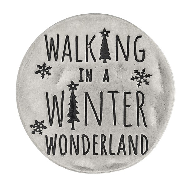 """Accessorize your phone grip with this metal Christmas decorative peel and stick charm featuring """"Walking in a Winter Wonderland"""" engraved details. Approximately 1.5"""" in diameter. Fashion charms can also be used for the following:  - Laptops - Refrigerator Magnets - On DIY Home Projects - Car Dashboard - And anywhere you can Imagine"""